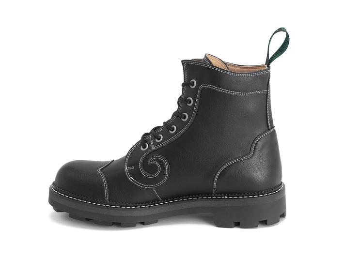 Derby Swirl (6 Oeillets) Black Vegan Classic Derby Boot