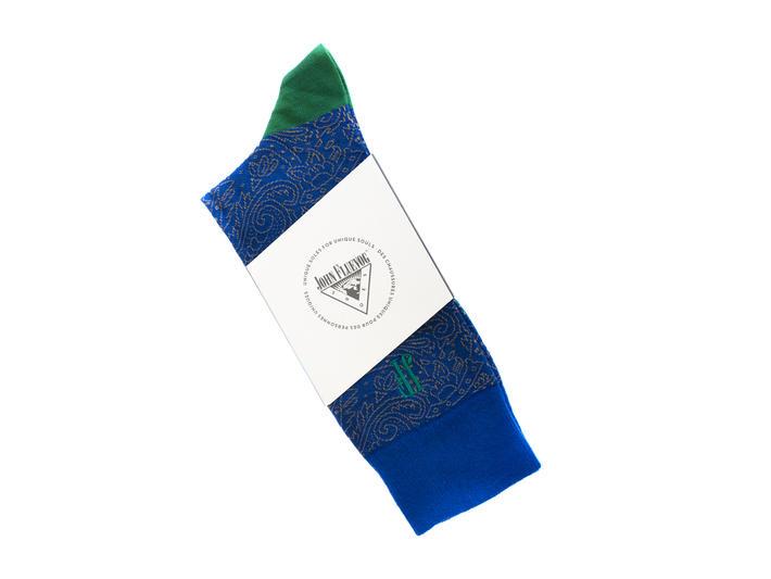 Dango Vog Socks Blue/Green Paisley knit sock