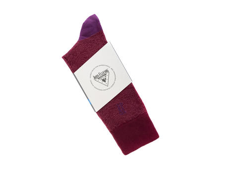 Dango Vog Socks Burgundy/Pink/Purple Paisley knit sock