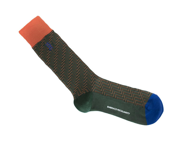 Papo Vog Socks Orange/Green Geometric zigzag sock