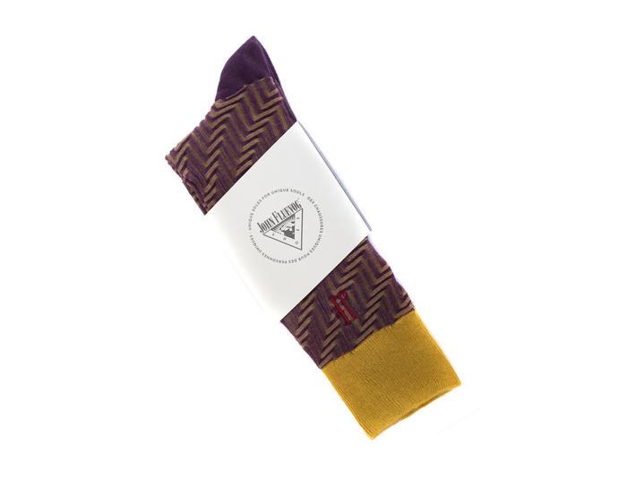 Papo Vog Socks Yellow/Purple Geometric zigzag sock