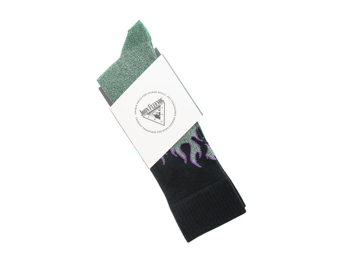 Pico Vog Socks Green/Black Sparkly flame sock