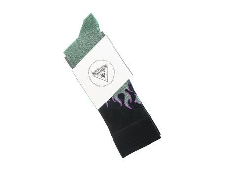 Pico Vog Socks Green/Black Sparkly flame sock