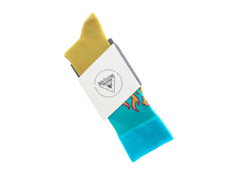 Pico Vog Socks Yellow/Blue Sparkly flame sock