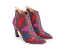Waltz Burgundy/Multi Geometric ankle boot