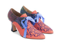 Zoe Pink/Floral Lace-up heel with embroidery