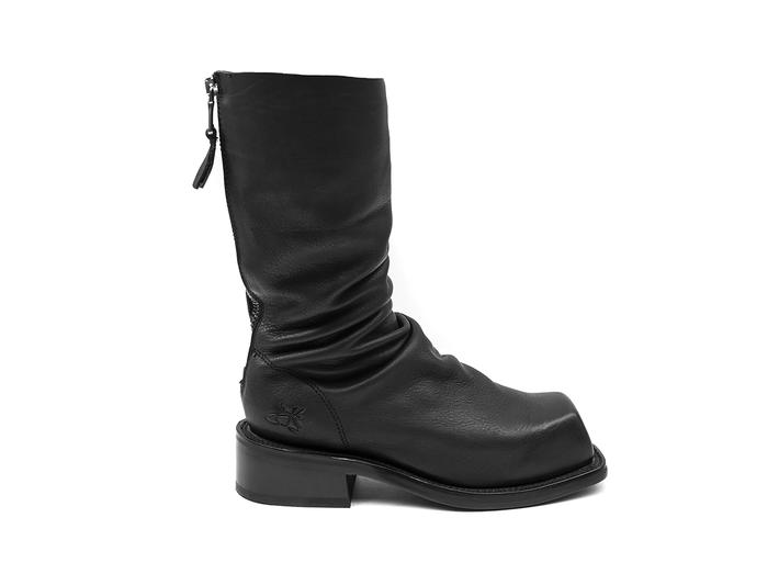 Cruz Black Slouchy mid-calf boot
