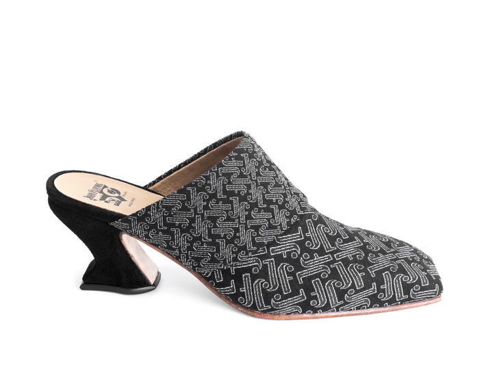 Majesty Black JF Monogram Mule heel
