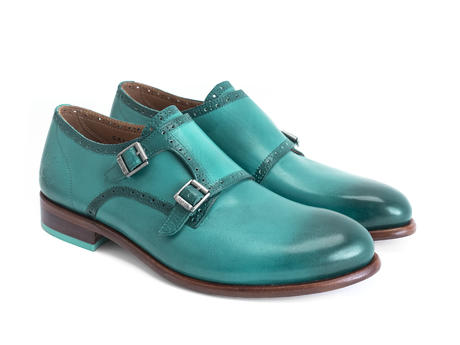 Wootton Turquoise Hand-painted monkstrap shoe