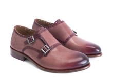 Wootton Pink Hand-painted monkstrap shoe