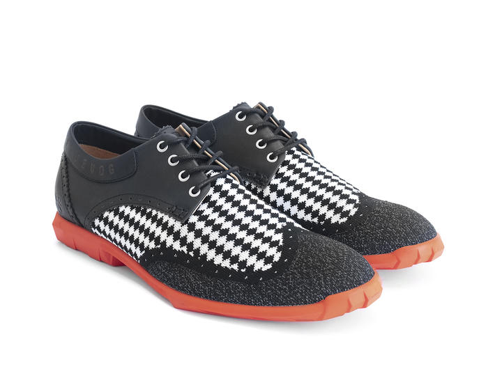 Orbit Black/Orange Brogued Wingtip Derby