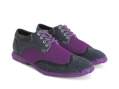 Orbit Black/Purple Brogued Wingtip Derby