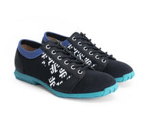 Asteroid Black/Blue Derby shoe with knit