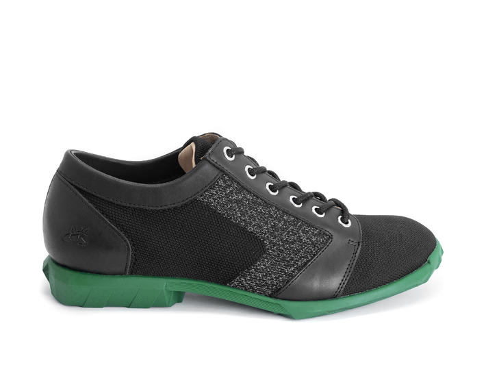 Asteroid Black/Green/Reflective Derby shoe with knit