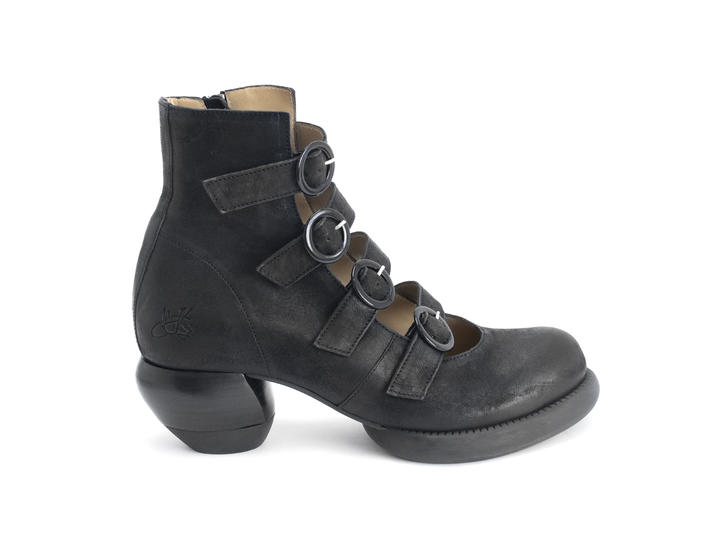 Huysmans Black Strappy ankle boot