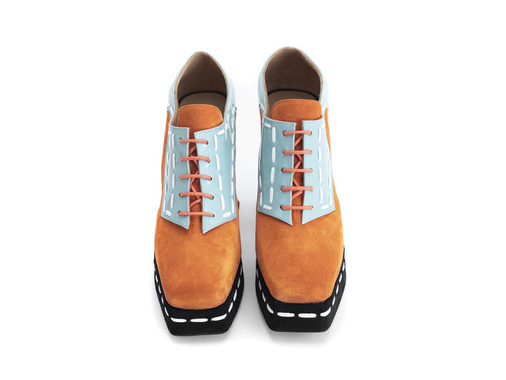 No. 54 Orange/Blue/Yellow Lace-up platform shoe