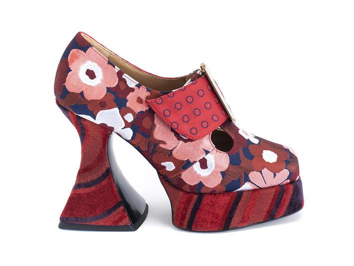 Original Red Floral/Stripes/Dots Baroque platform heel