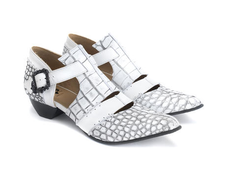 Alisha White Croc T-strap heel with skull buckle