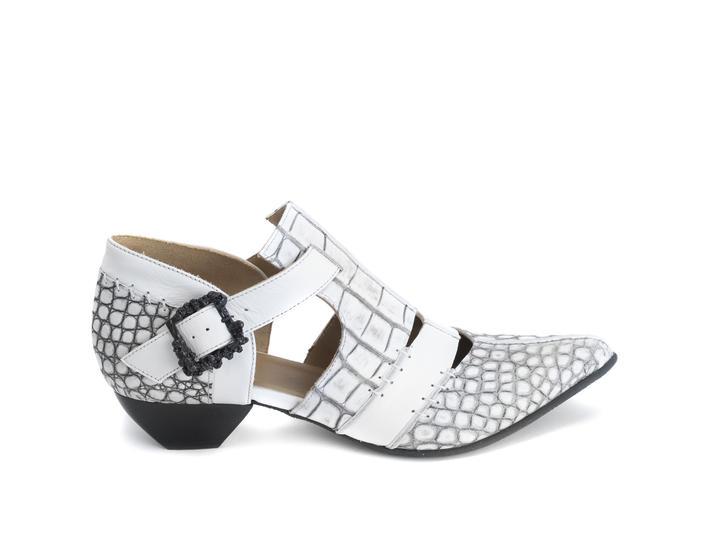Alisha White Croc T-strap heel with skull buckle