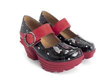 Sonata Black/Red Floral Rubber platform mary jane
