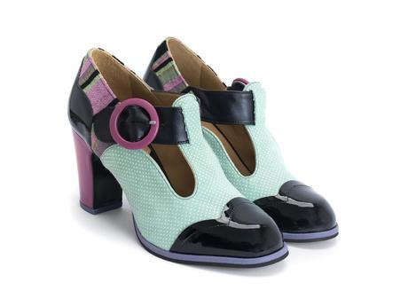 Ilona Black/Mint Contrast t-strap heel