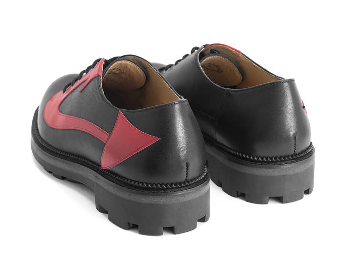 Maha Black/Red Devil tail derby shoe