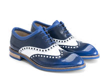 Domitian Blue/White Contrast brogued oxford
