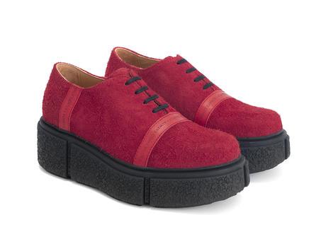 Tycho Red Fuzzy platform shoe