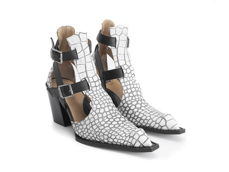 Postmodern Slushy White croc Sexy swordfish boot