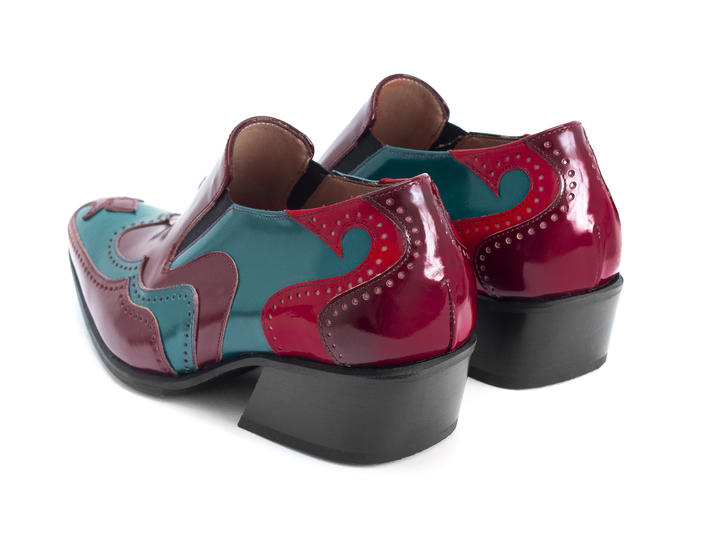 Iggy: Women's Red/Aqua Loafer heel