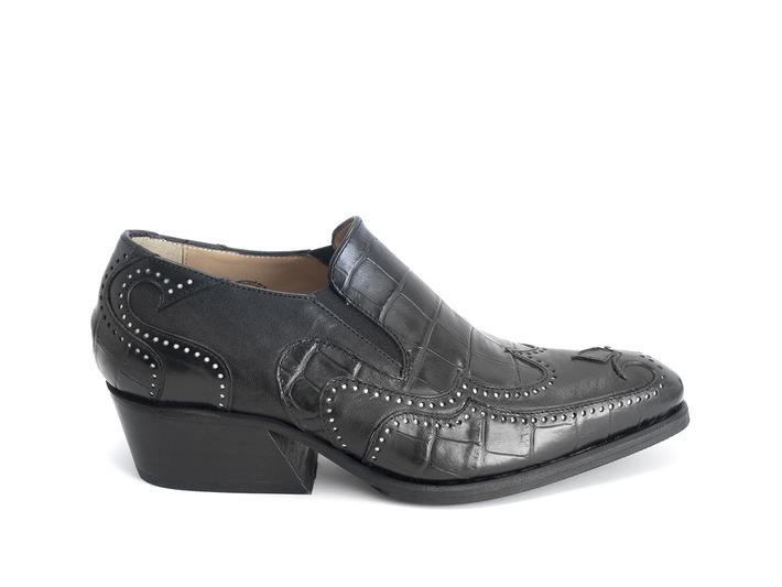 Iggy: Women's Black Croc Loafer heel