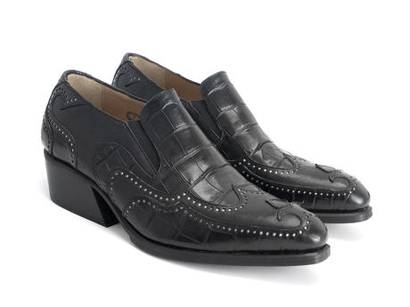 Iggy: Men's Black Croc Loafer heel
