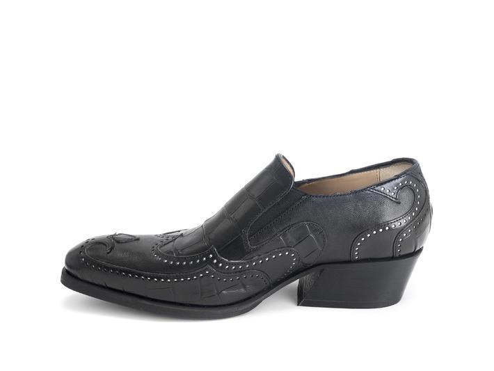 Iggy: Men's Black Loafer heel