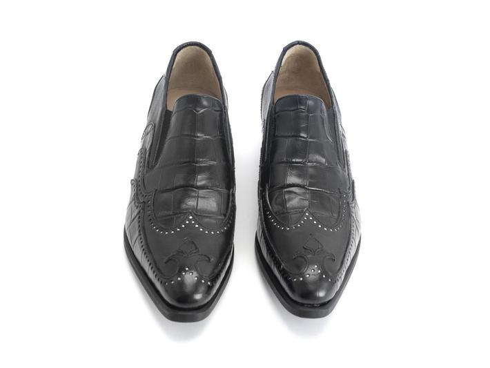 Iggy: Men's Black Croc Loafer heel