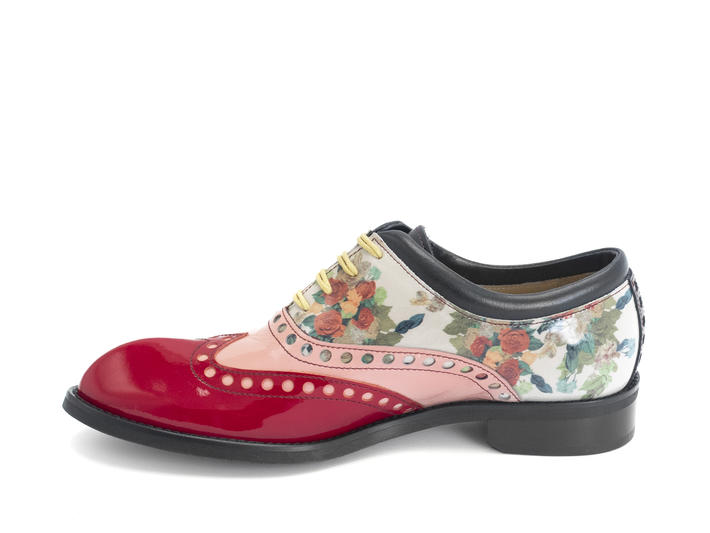 Domitian White Floral Contrast brogued oxford