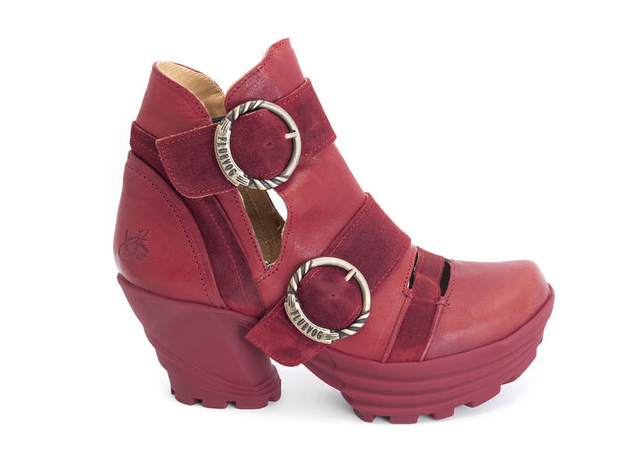Soca Red Platform buckle boot