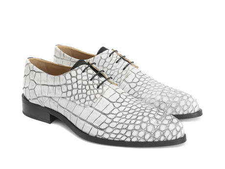 Ace Face White Croc Simple derby lace-up