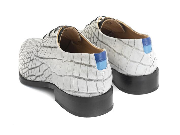 Ace Face White Croc Simple derby lace-up