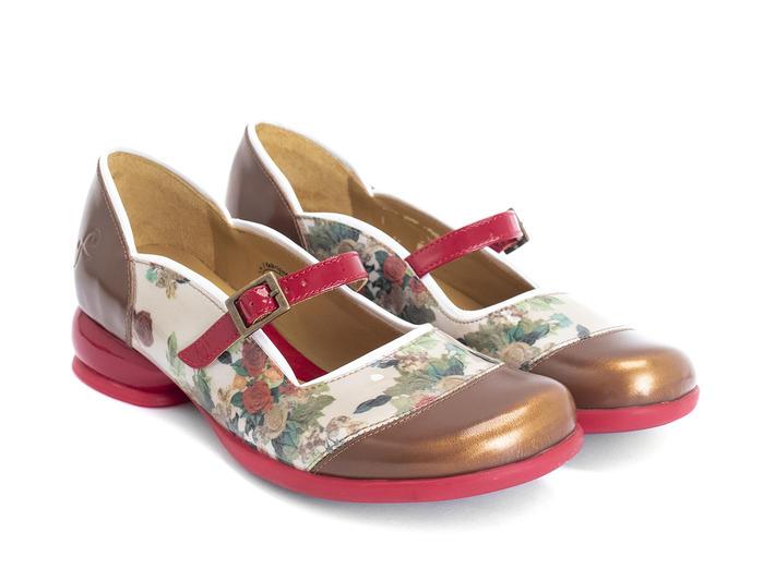 Sandra Floral Rounded Toe Mary Jane Shoe