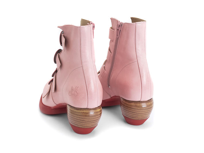 Huysmans Pink Strappy ankle boot