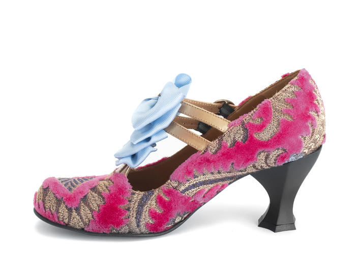 Caravaggio Pink Jacquard T-strap heel with bows