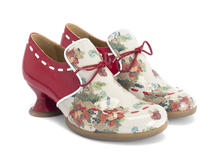 Willful Floral/Red Slip-on heel with stitching