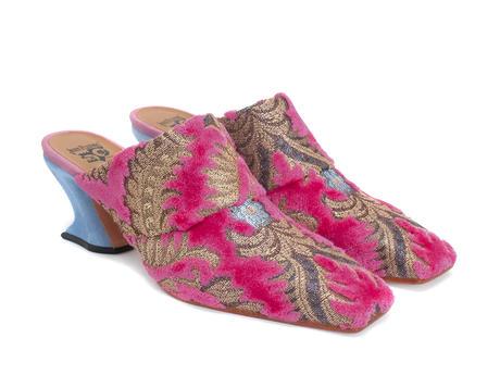 Majesty Pink Jacquard Mule à talon