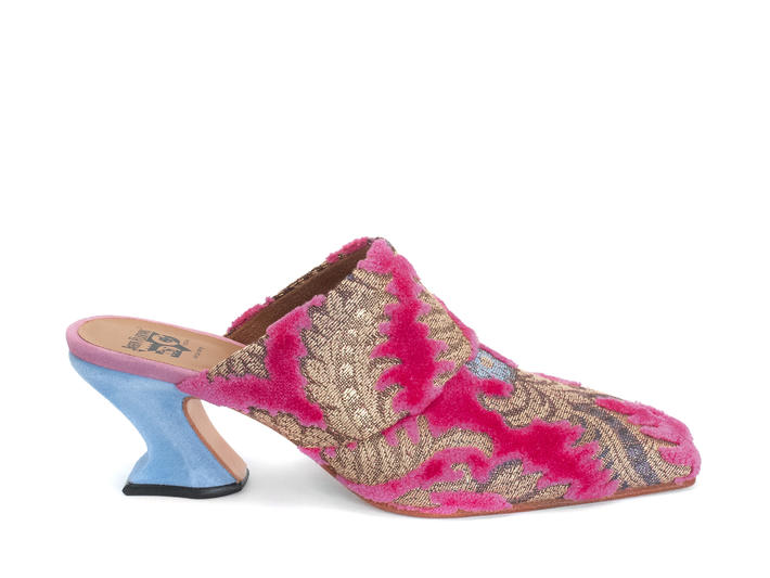 Majesty Pink Jacquard Mule heel