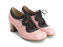 Melis Pink/Black Lace-up heel with trim