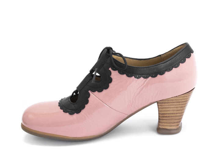Melis Pink/Black Lace-up heel with trim
