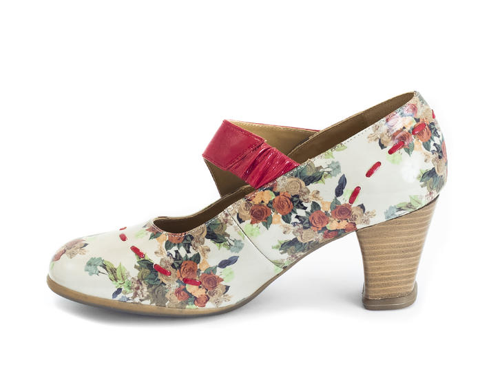 Petrella Floral Mary jane with large studs