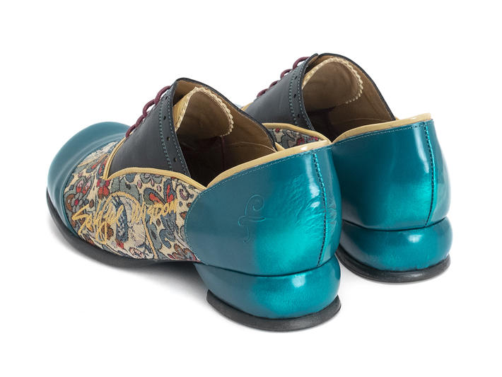 Darby Teal/Tapestry Lace-up shoe with piping