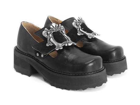 Asta Black Buckled platform shoe