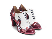 Bahiana Red Floral Floral lace-up heel